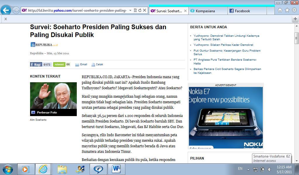 Survei: Soeharto Presiden paling disukai publik.